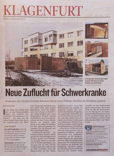 Kleine Zeitung_2016.01.08_ Neuer Zufluchtsort für Schwerkranke