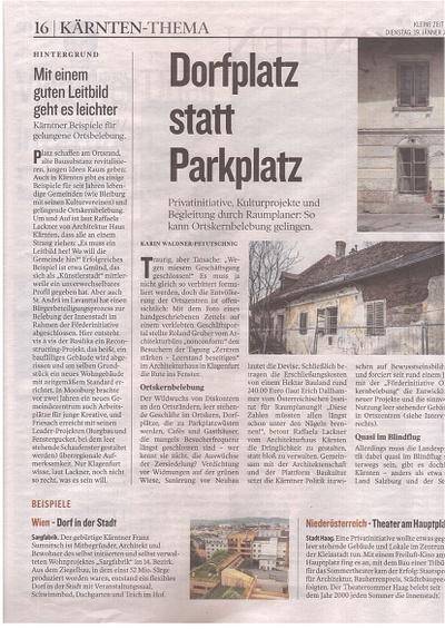 Kleine Zeitung_2016.01.19_Dorfplatz statt Parkplatz
