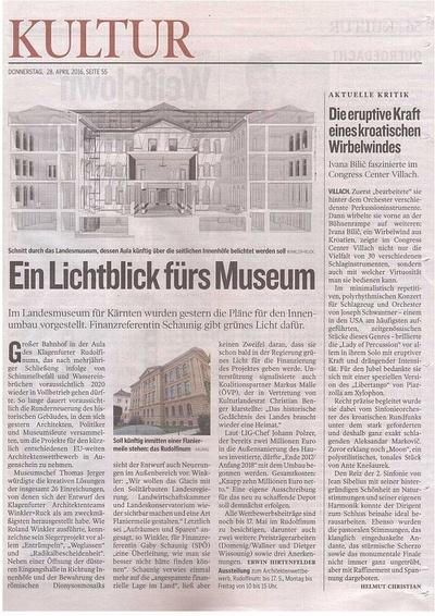 Kleine Zeitung_2016.04.28_Ein Lichtblick fürs Museum